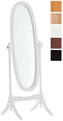 CLP Holz-Standspiegel Cora I Ovaler freistehender Spiegel im Landhausstil I Neigbarer Ganzkörperspiegel mit Holzgestell I Größe 150 x 60 cm Weiß