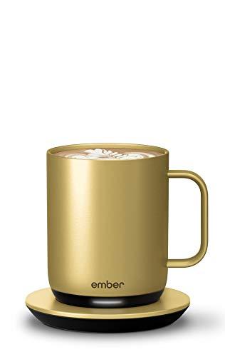 NEW Ember Temperature Control Smart Mug 2, 10 oz, Gold, 1.5-hr Battery Life - App Controlled Heated Coffee Mug - Improved Design