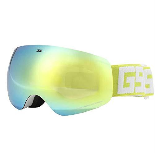 YYSDH Kinder Skibrille Doppelschicht Anti-Fog-Spiegel UV-Schutz Winter Skibrille Jungen Und Mädchen Große Sphärische Myopie Brille Skiausrüstung,Gelb