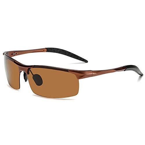 XXBFDT Marco metal ligero vintage/clásico/elegante - Gafas de sol cambiantes de color de magnesio de aluminio-Té del marco de té