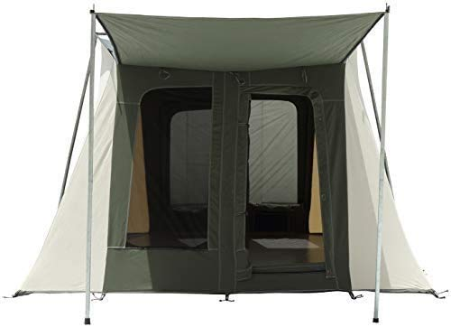 6-8 Person PROTA Canvas Tent, 10x14 and 10x10 Basic, 4 Season 100% Cotton Canvas Cabin Style Tent w/ Silver Coated Roof, Bug Mesh on Large Windows & D-Shaped Doors for Outdoors (Olive, 10'x14' Basic)