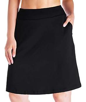 Yogipace Women s 4 Pockets UV Protection 20  Modest Knee Length Skirt Athletic Running Golf Tennis Skort Zippered Pockets Black Size M