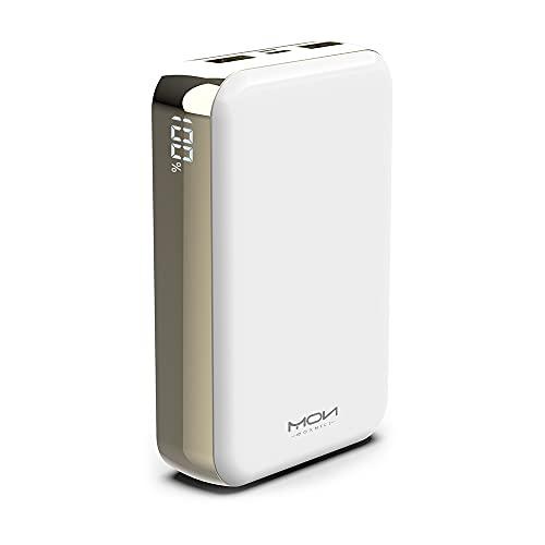 MOXNICE Batería Externa 20000mAh Power Bank, USB C Cargador Portatil Powerbank con 2 Salidas USB para Smartphones y Tabletas(Blanco)