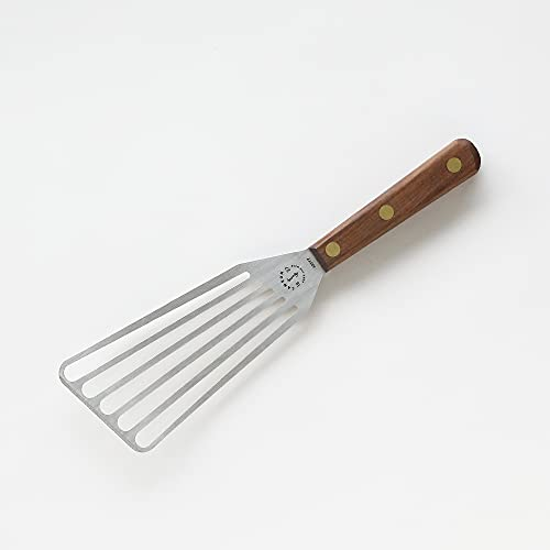 Lamson Chef's Slotted Turner, 3' x 6', Stainless Steel with Riveted Walnut Handle, Right-Handed