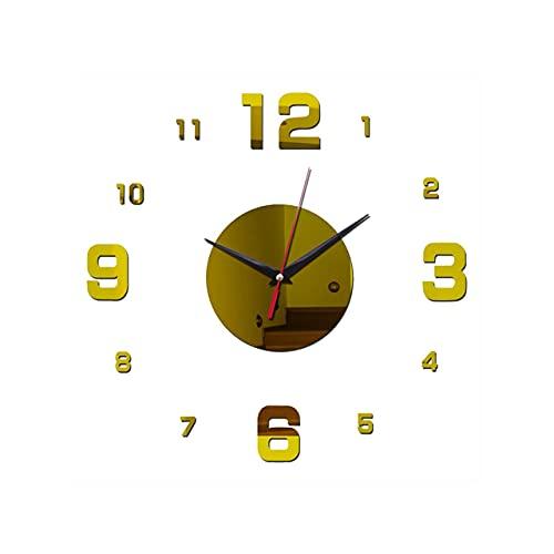 Easyeeasy GZ072 Reloj de pared con espejo acrílico digital 3D Reloj de pared creativo para sala de estar Reloj de pared con decoración de pared para sofá Reloj de pared