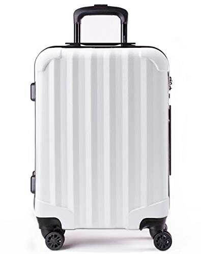 Genius Pack Hardside Luggage Spinner - Smart, Organized, Lightweight Suitcase - TSA Approved Cabin Size (Supercharged - Matte White)