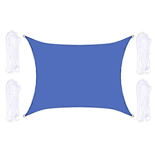 Toldos Exterior Rectángulo Azul O Vela Cuadrada De La Sombra Impermeable Con Anillos D De Aluminio, Sombra Al Aire Libre De La Sombra Con Las Cuerdas De Montaje, Fácil De In(Size:2X2.5m/6.6X8.2ft)