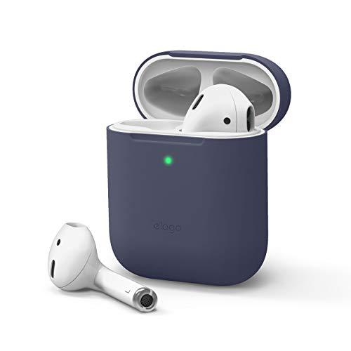 elago Skinny Funda Compatible con Apple AirPods 1 y 2 - LED Frontal Visible, Carga inalámbrica, Sin Bisagra (sin Mosquetón, Jean Indigo)