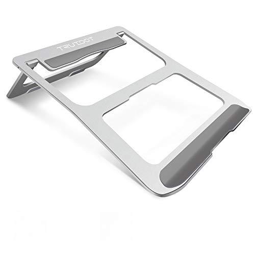 TRUTDOT ノートパソコンスタンド 人間工学設計 姿勢矯正 PCスタンド 滑り止め imac スタンド 安定性 放熱効果抜群 タブレット スタンド 折り畳み式 PCホルダー ノートPC/iPad/Macbook/Macbook Pro 等に対応 シルバー