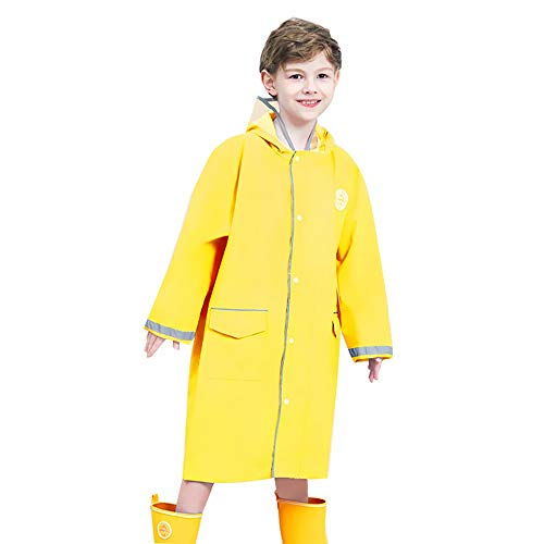 Veste Enfants Pluie - Enfants Raincoat Fille Garçon Cartoon Pluie Porter imperméable Poncho 1 Piece Costume de Pluie avec Capuchon Transparent et Bande réfléchissante (Color : Yellow, Size : XL)