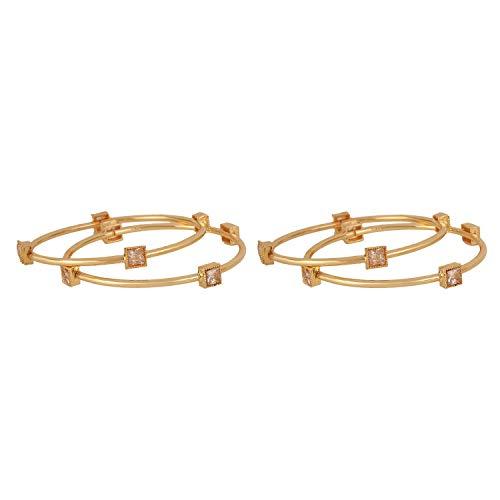 Efulgenz Mode Smycken Indisk Bollywood 14 K Guldpläterad Faux Kundan Kristall Armband Armring Set (4 Delar) E Mässing, Colore: Guld, Cod. Bng85_2.6