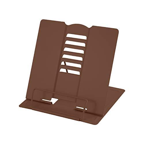 Leggio Libri, MSDADA Supporti per Libri da Cucina, Metal Book Stand Leggio da Tavolo con 6 Altezze Regolabile per Libri, Ricette, Musicale, iPad, Tablet(Marrone)