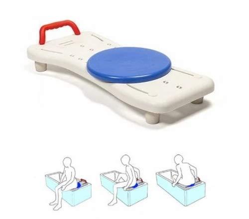 OrtoPrime Badewannensitz mit drehbarer Scheibe, einfach zu transportieren – Drehstuhl für Erwachsene – Badewannenbrett verstellbar – Sicherheits-Bank