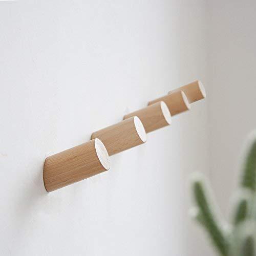 Wandhaken Holz 5pcs 30mm für Bademantel Hat Kleidung Wandhalterung Haken Aufhänger Handtuch Rack Schlafzimmer Dekoration Holz Haken Mehrzweck