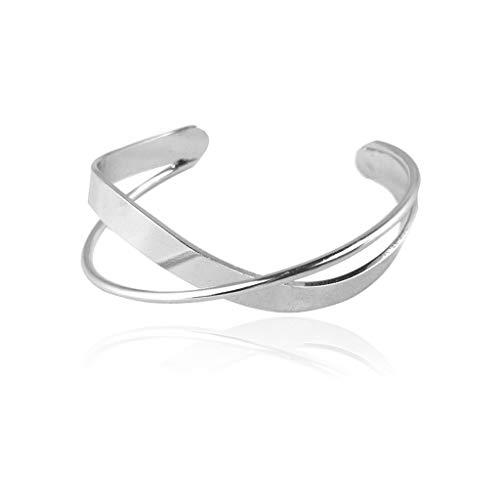 SKYVII Pulsera geométrica simple abierta entrecruzada cruzada brazalete para mujer joyería de moda