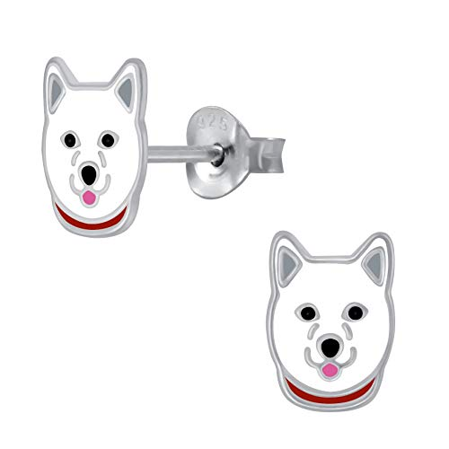 Orecchini a forma di cane, in argento Sterling, misura S, colore: bianco