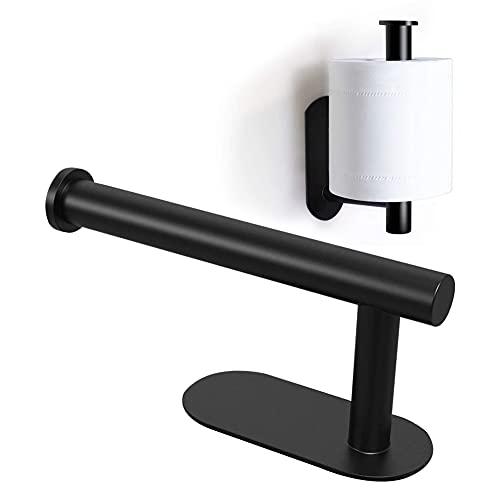 Toilettenpapierhalter, Klopapierhalter Edelstahl Selbstklebend Papierhalter Schwarz Toilettenpapierhalter Papier Halterung Wandmontage für Schlafzimmer und Küche