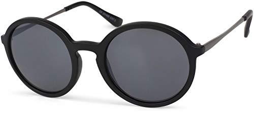 styleBREAKER Gafas de sol con lentes redondas de gran tamaño y montura de plástico-metal, unisex 09020063, color:Marco negro Antracita/vidrio gris degradado