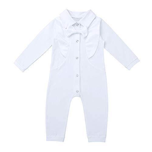 TiaoBug Baby Hemd-Body Langarm mit Kragen Strampler Baby-Jungen Hemd festlich Bodysuit Anzug Hemd für Hochzeit Taufe Geburtstag Geschenk Sommer Kleidung Weiß Overall 80