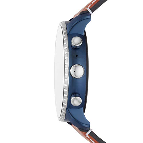Fossil Hommes Montre Connectée avec Bracelet en Cuir FTW4016