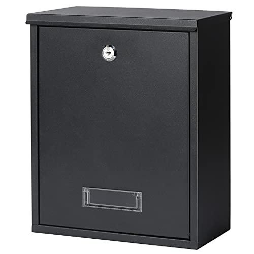 Jssmst Locking Mailbox Wall Mount Key Lock Drop Box Large Capacity with Galvanized Steel Cover and Rust-Proof Metal Post Box, Black Matt, SM-0702LK