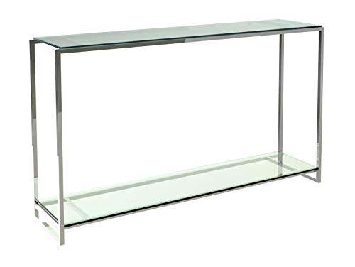 Narrow Console Table - Clear Glass Shelves With Polished Frame
