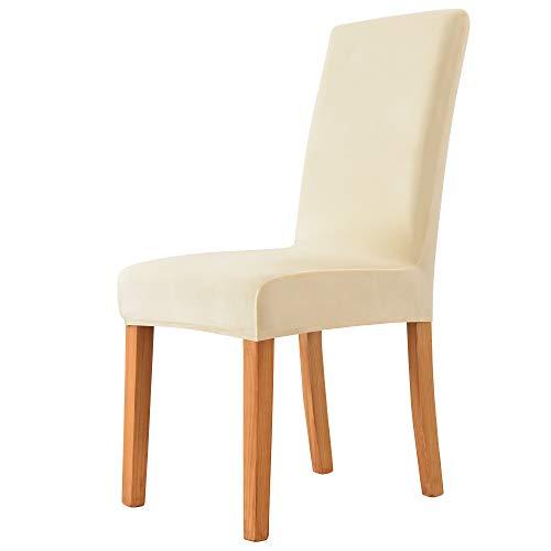 MILARAN Samt-Stuhlhussen für Esszimmer, weicher Stretch-Sitzbezug, waschbar, abnehmbar, Parsons-Stuhlschutz, 4 Stück, cremefarben