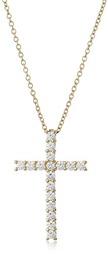 """Yellow-Gold Plated Sterling Silver Cross Pendant Necklace set with Swarovski Zirconia (2 cttw), 18"""""""