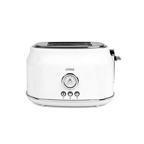 Tostadora blanca retro con termostato regulable de 6 niveles, 2 rebanadas (815 W, 2 ranuras para tostadas, bandeja recogemigas)