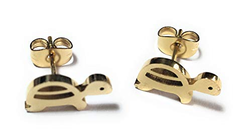 FizzyButton Gifts Turtle Tortoise Gold Plated Stainless Steel Stud Earrings, in Gift Box