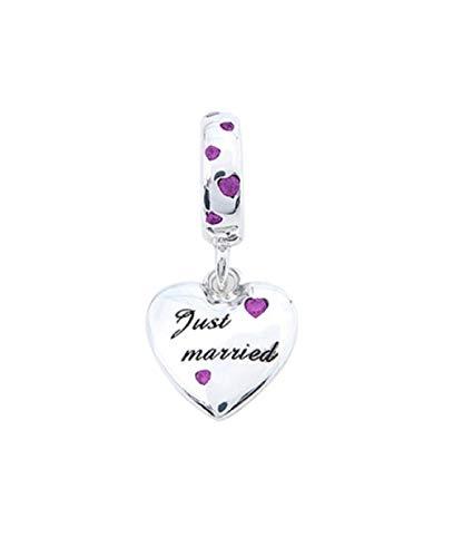 FeatherWish - Colgante de plata de ley 925, diseño de corazón con texto en inglés'Just Married Love' con circonita cúbica rosa, compatible con pulseras Pandora, pulseras o collares europeos de 3 mm