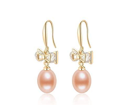 Pendientes colgantes de perlas cultivadas en agua dulce de 7,5 a 9 mm con perlas de circonita cúbica