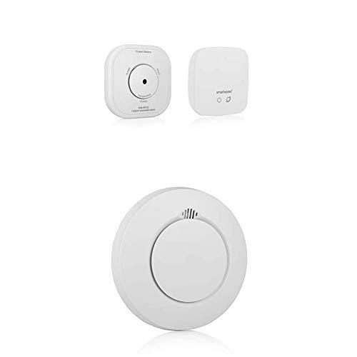 Smartwares Smart Home Pro Funk Kohlenmonoxid-Melder Set/Co Melder Set (mit Link/Hub, Basisstation) SH8-99105 + Security SH8-90103 SH8-90103-Intelligenter PRO Series 868 MHz Rauchmelder, Weiß