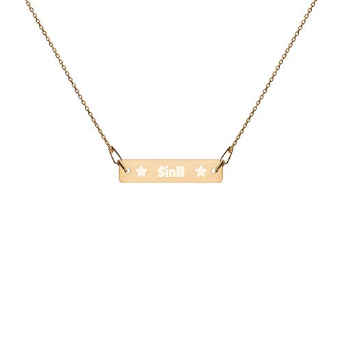 """SinB Stars Necklace Sterling Silver Engraved Bar Pendant and 16"""" Chain in Gold Finish 