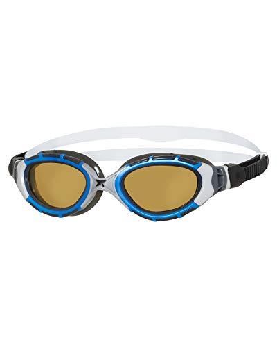 Zoggs Predator Flex Polarized Ultra Reactor Goggles S - Gafas de natación, color azul metalizado y plateado