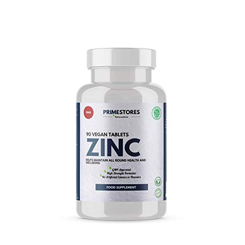 Zinc Immune System Booster Pills 15mg - 90 Organic Vegan Tablets - High Strength Halal Hair Skin Nail Supplements by Primestores