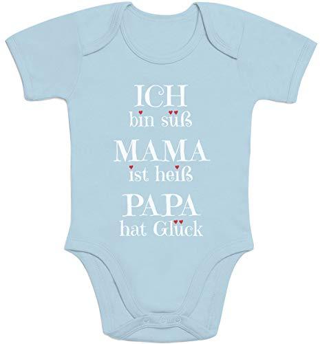 Süßer Spruch Ich Bin süss, Mama ist heiß, Papa hat Glück Baby Body Kurzarm-Body, Hellblau, Neugeboren