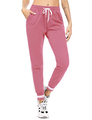 Akalnny Pantalones Deportivos para Mujer Pantalón de Chándal Largos Pantalones de Deporte con Cordones para Gimnasio Yoga Jogging (Rosado, S)