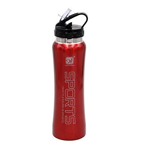 HAPPY FRIENDS Botella Cantimplora agua libre de BPA de 750 ml de acero inoxidable con pipeta (Rojo Esmaltado)