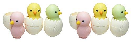 Iwako Carino pollo pulcino in uovo Gomme giapponesi (3 colori / Set) NEW!