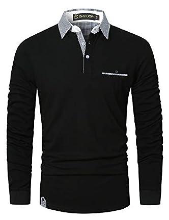 GHYUGR Polo Hombre Manga Larga Camiseta Deporte Clásico Elegante Cuadros Cuello T-Shirt,Negro,L
