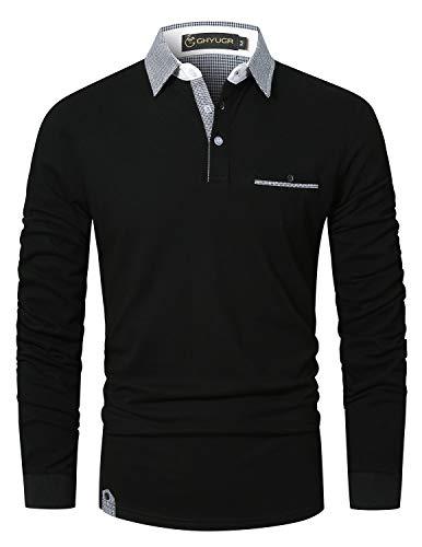 GHYUGR Poloshirt Herren Langarm Golf T-Shirt Klassische Karierte Spleiß Polohemd S-2XL,Schwarz,L