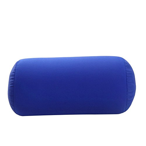 uminilife 31x17cm Micro Mini Microbead Roll Pillow Neck Column Pillows Squishy Mooshi Beads Offer Comfort & Support for Travel (Dark Blue)