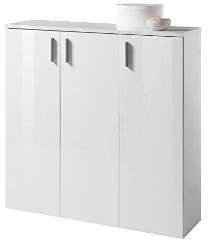 AVANTI TRENDSTORE - Lindo - Mobili da Ingresso in Laminato di Colore Bianco Lucido (Mobile con 3 Ante)
