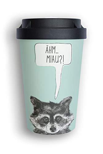 heybico Coffee to go Becher aus Pflanzen hergestellt im Schwarzwald | umweltfreundlich & klimaschonend (Sneaky Raccoon)