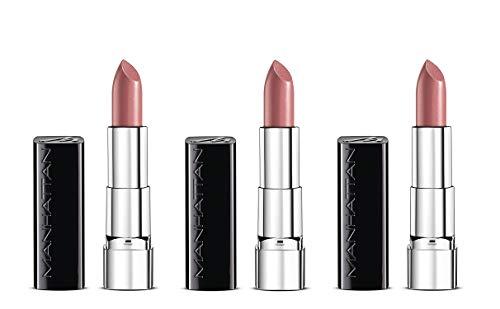 Manhattan Moisture Renew Lipstick, cremiger Lippenstift, feuchtigkeitsspendend, intensiv, langanhaltend (3er Pack) (100 Nude Delight)