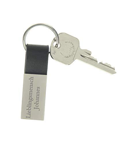 Personalisierter Schlüsselanhänger Echt-Leder mit persönlicher Gravur beidseitig in Geschenkverpackung – Tolles Geschenk für Frauen und Männer (schwarz)