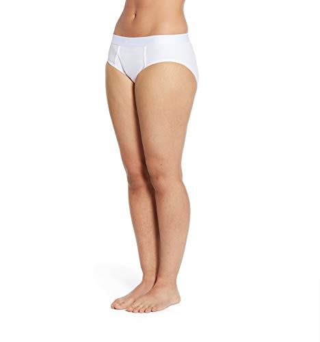 TomboyX Iconic Briefs, Super Soft Cotton Form-Fitting Underwear, Breathable All Day Comfort- Medium/White