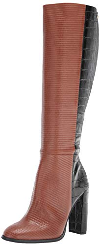 Calvin Klein Women's KERIE Knee High Boot, Dark Cuoio/Black, 5.5 UK