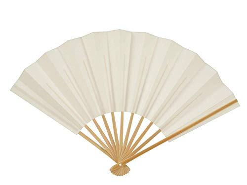 [さらさ] 成人式 竹製 和紙 紳士用 扇子 白 無地